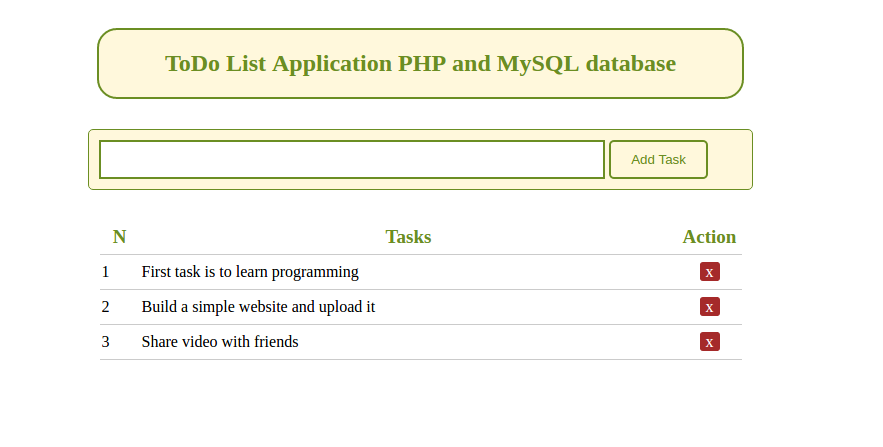 to do list application using php and mysql database codewithawa